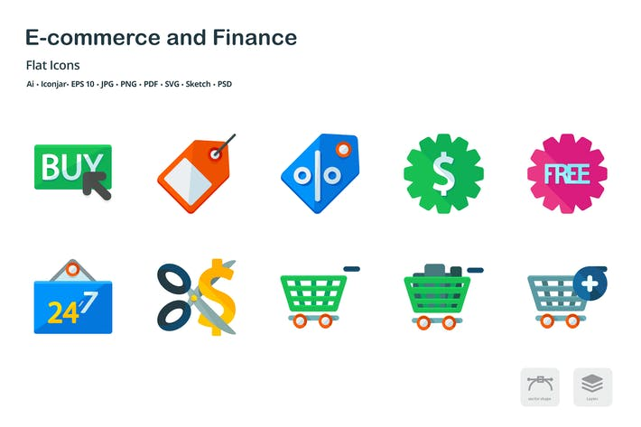 Thumbnail for E-commerce and Finance Flat Colored Icons