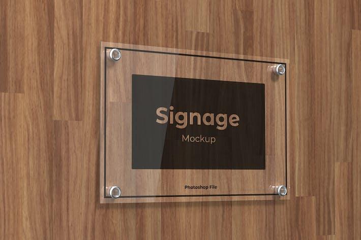 Glass Signage logo  Mockup