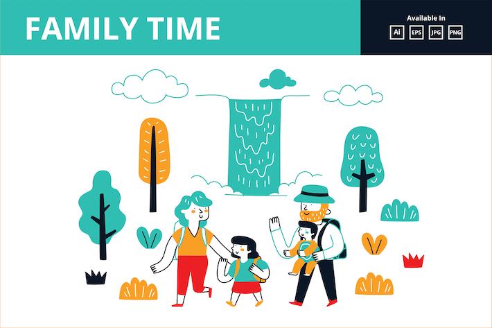 Thumbnail for Семейный отдых в природе doodle