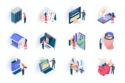 Banking Service Isometric Icons Pack