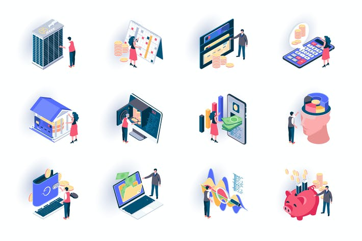 Thumbnail for Banking Service Isometric Icons Pack