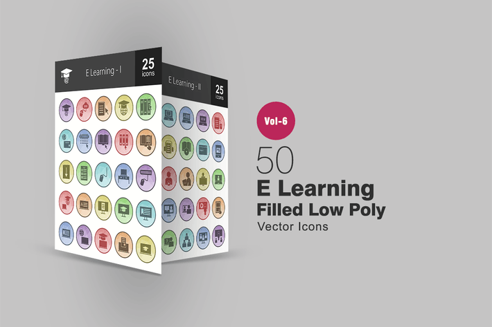 Thumbnail for 50 E Learning Filled Low Poly Icons