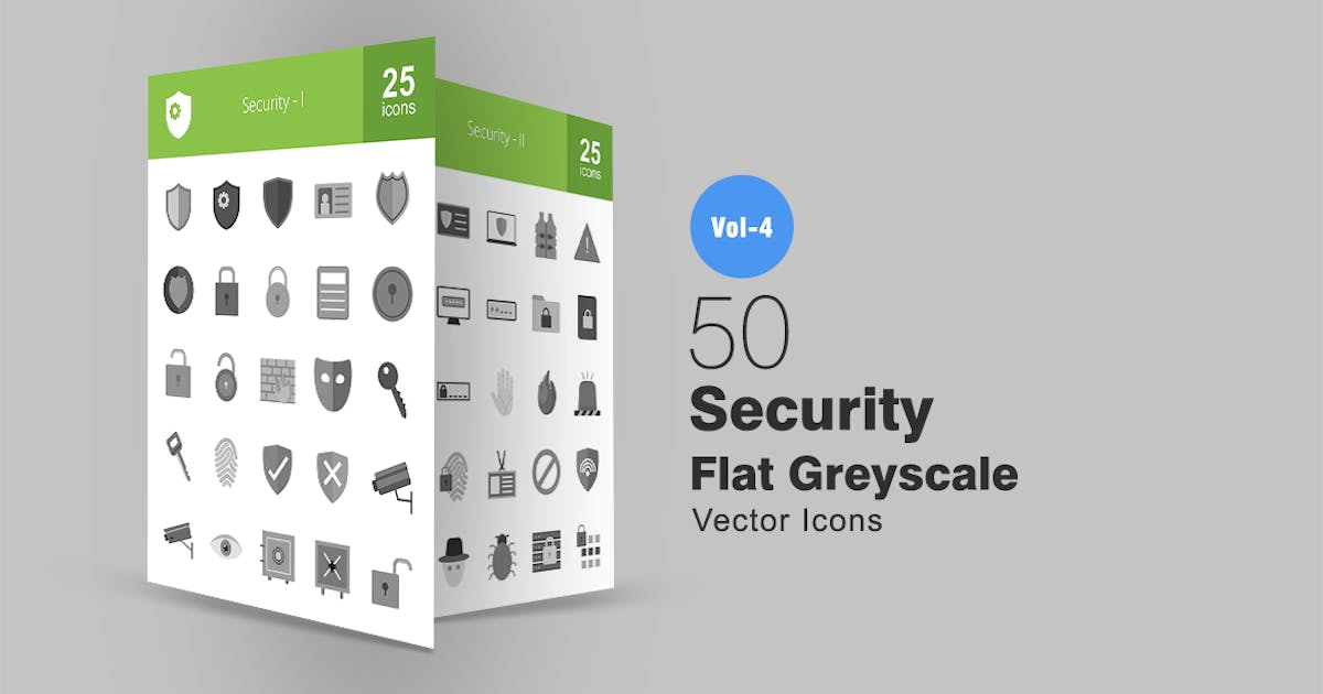 Download 50 Security Greyscale Icons by IconBunny
