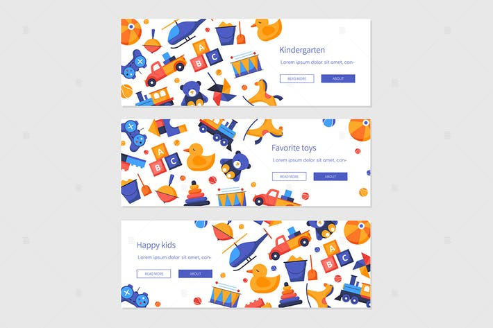 Thumbnail for Happy kids - set of flat design style banners