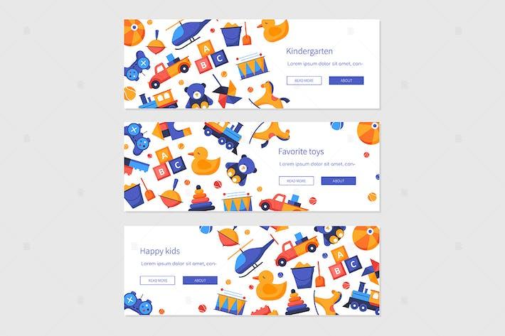 Thumbnail for Happy Kids - Set von flachen Design Stil Banner