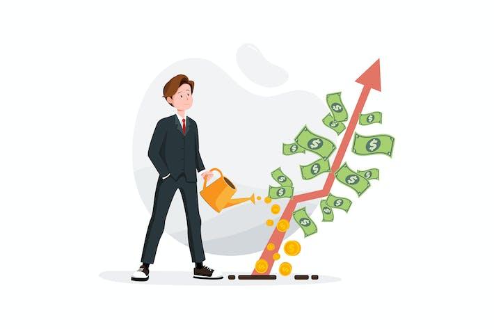 Thumbnail for Geschäftsmann bewässert einen Baum des Geldes