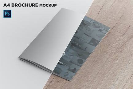 A4 Brochure Cover Mockup Perspective View