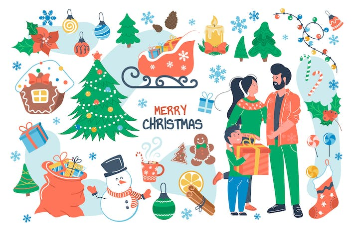 Merry Christmas Concept Isolated Elements Set