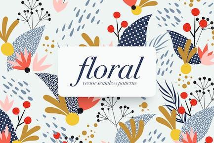 Memphis Floral Seamless Patterns