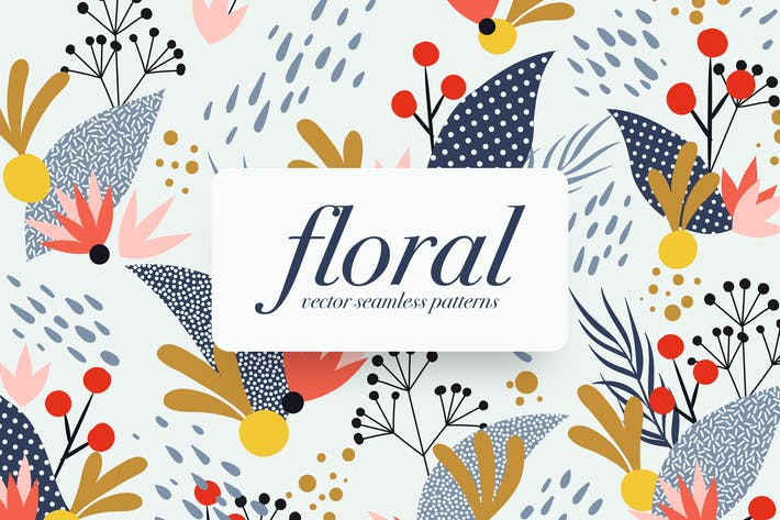 Thumbnail for Memphis Floral Seamless Patterns