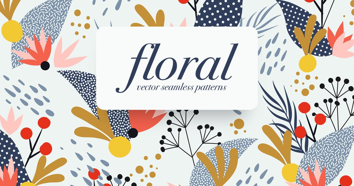 Download Memphis Floral Seamless Patterns by themefire
