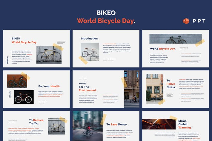 Thumbnail for BIKEO - World Bicycle Day Powerpoint Template