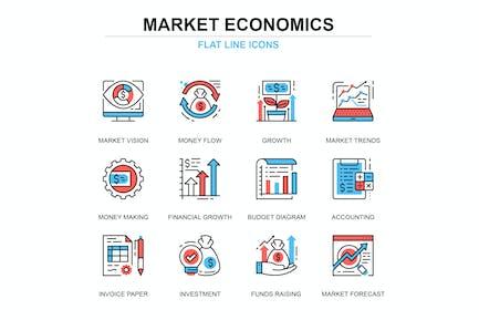 Thin line global market economics icons set