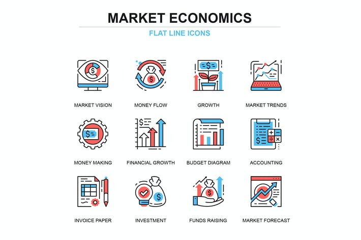 Thumbnail for Thin line global market economics icons set