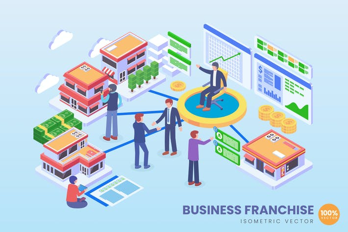 Thumbnail for Isometric Business Franchise Vector Concept