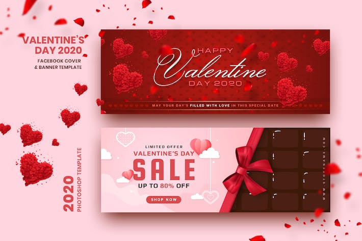 Thumbnail for Valentine Facebook Cover & Banner Template