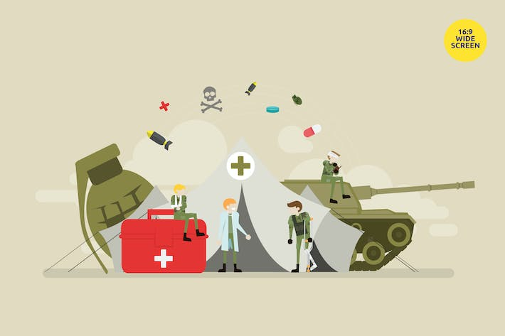 Military Emergency Clinic Vector Concept