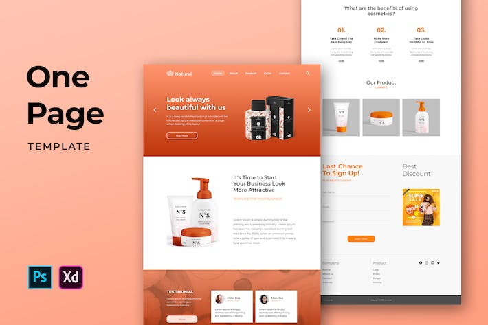 Thumbnail for Beauty One Pages Template