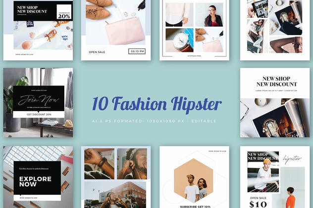 Instagram Fashion Hipster Banner - 01 - product preview 0