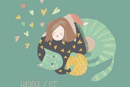 Niedliche Cartoon-Mädchen mit ihrem verspielten Katze. Vektor