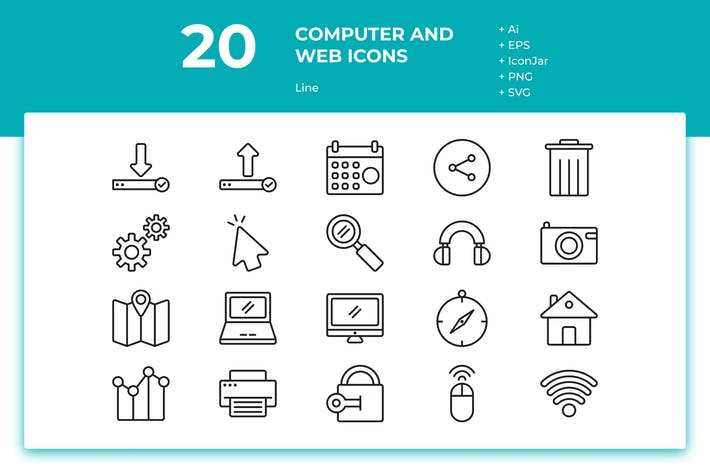Thumbnail for 20 Computer and Web Icons (Line)