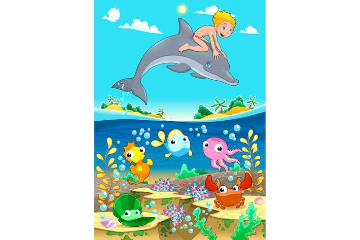 Thumbnail for Boy and Dolphin with Fish Under the Sea