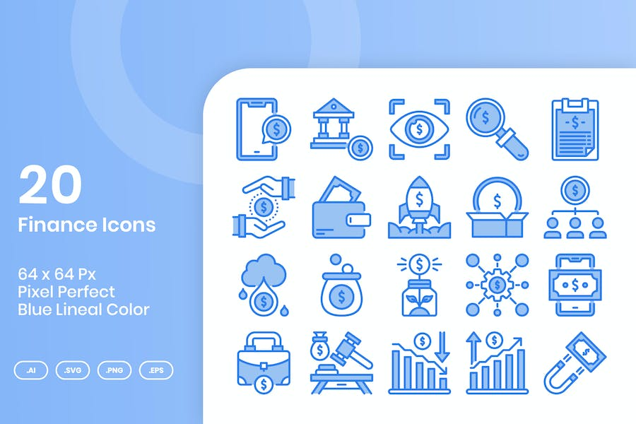 20 Finance Icons Set - Blaue Lineale Farbe