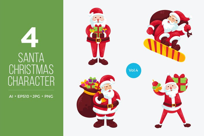 Thumbnail for Cute Santa Claus Vector Character Set 4