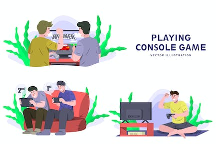 Playing Game - Activity Vector Illustration
