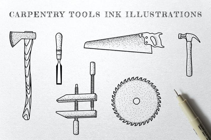 Thumbnail for Carpentry Tools - Ink Illustrations