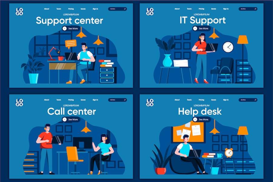 Modèle de page de destination du concept plat de service de support