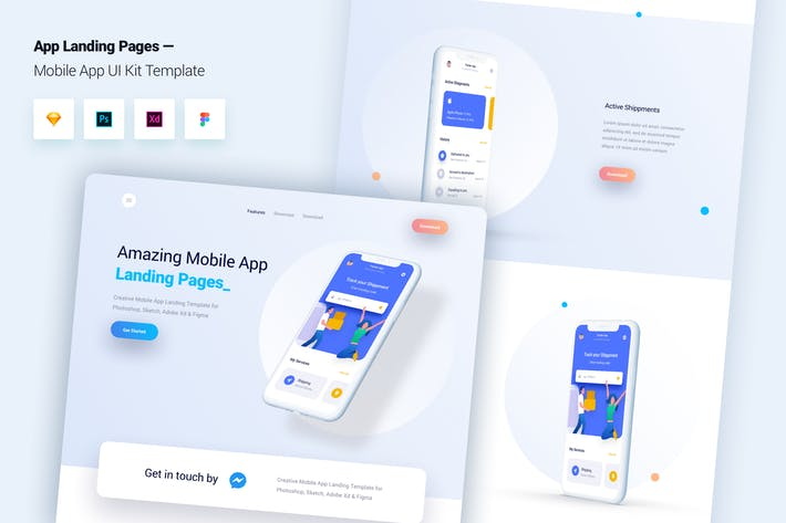 Thumbnail for Mobile App Landing Page Template UI Kit