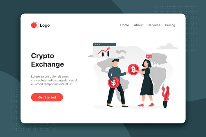 Thumbnail for Cryptocurrency exchange flat concept