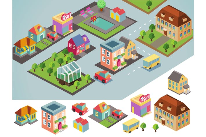 Thumbnail for Sunny isometric environment. vector illustration