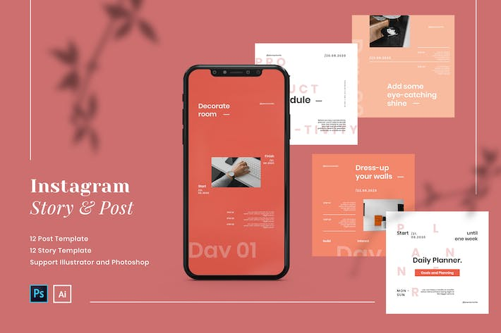 Thumbnail for Productivity Planner Instagram Post and Story