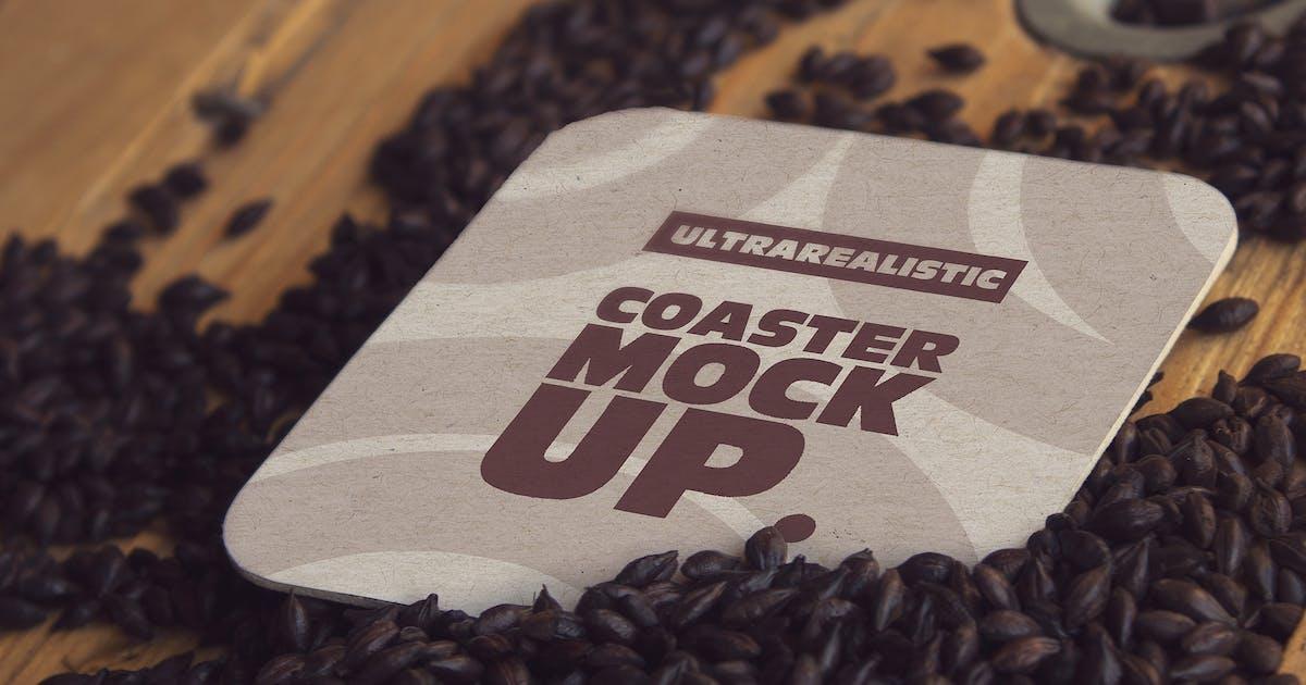 Download Square Coaster Black Malt Mockup by SmartDesigns_eu
