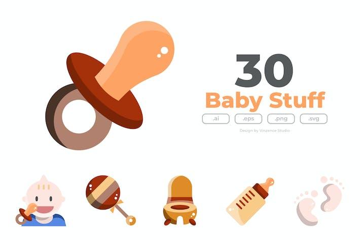 Thumbnail for 30 Иконки к для детских вещей - FLAT