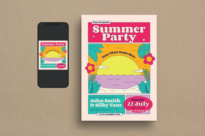 Thumbnail for Summer Party Flyer Set