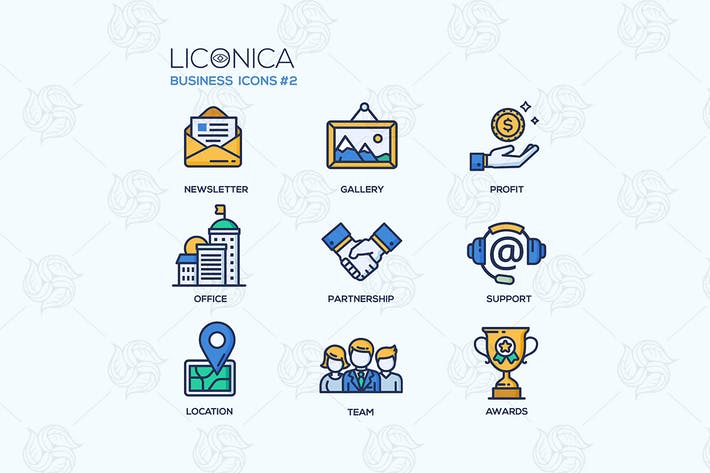 Cover Image For Set of modern office thin line flat design icons