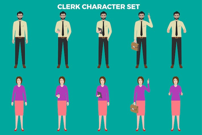 Thumbnail for Clerk Character Set – Illustrations