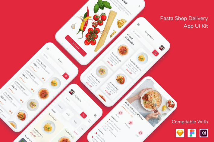 Thumbnail for Pasta Shop Delivery App UI Kit