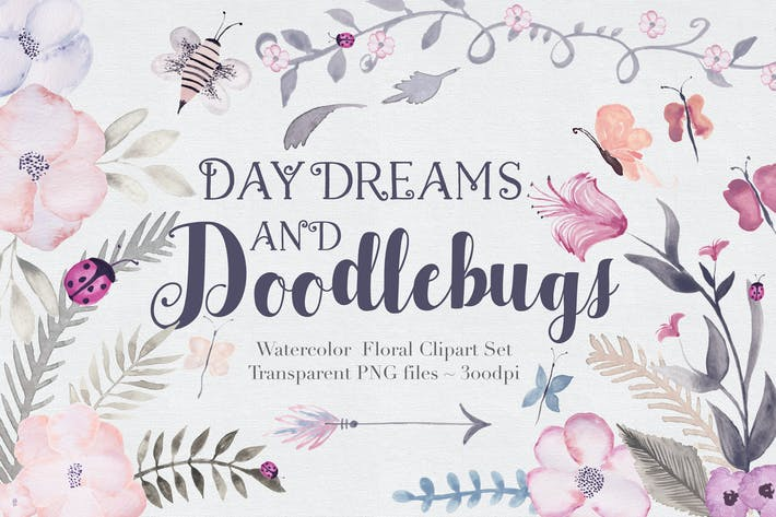 Cover Image For Doodlebug + Flowers - Clipart Set