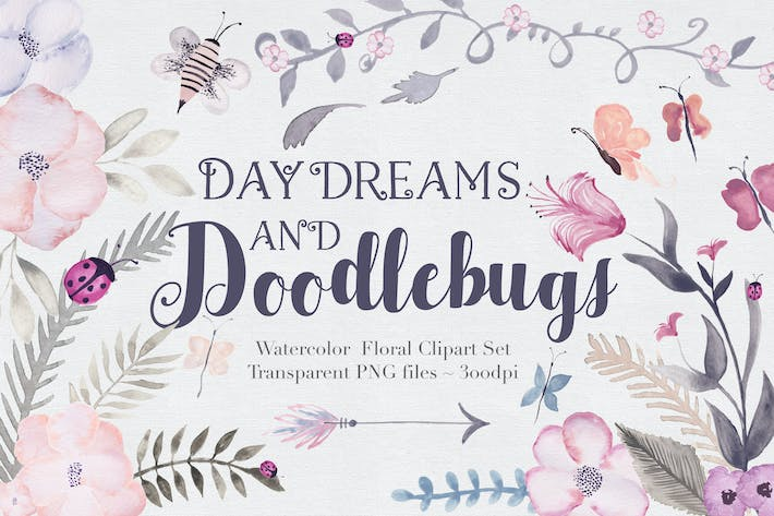 Thumbnail for Doodlebug + Flowers - Clipart Set