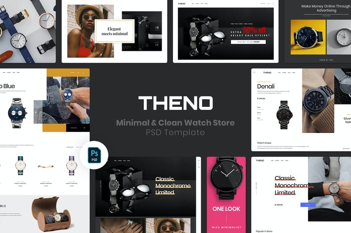 Thumbnail for THENO | Minimal & Clean Watch Store PSD Template