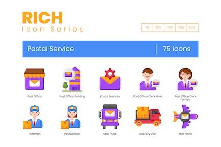 75 Postdienst-Symbole - Rich-Serie