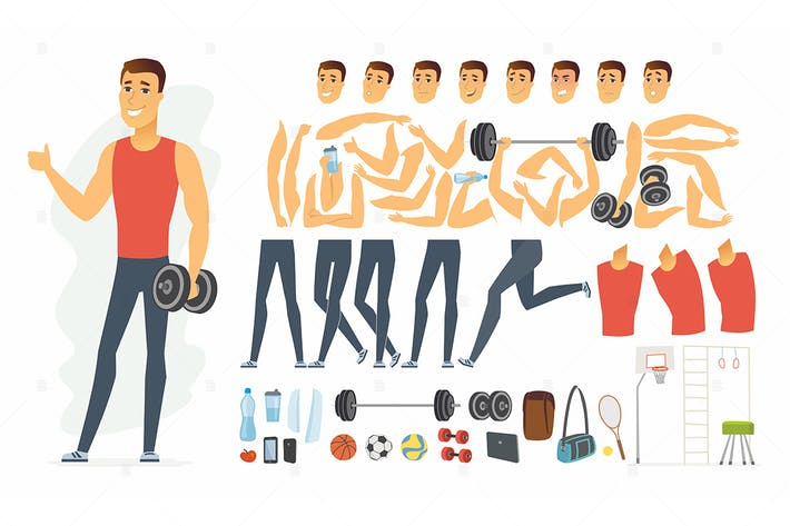 Thumbnail for Sportsman - cartoon people character constructor