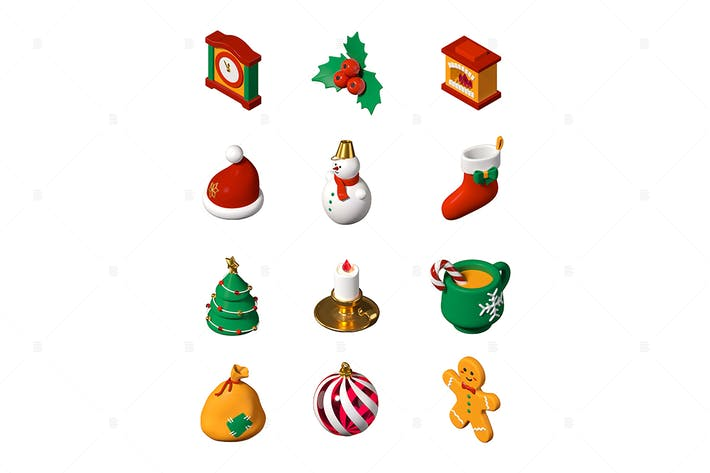 Thumbnail for Merry Christmas and Happy New Year - 3d icons