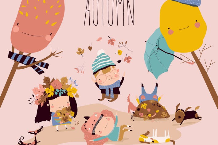 Thumbnail for Happy kids playing with autumn leaves. Hello autum
