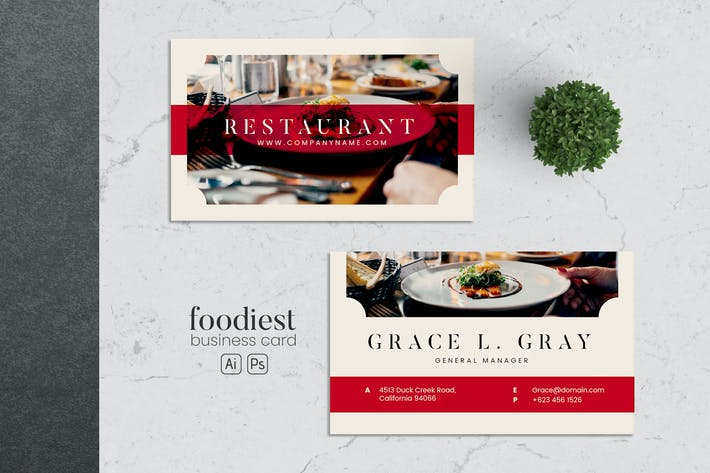 Thumbnail for Minimalist Food Business Card AI and PSD Vol.08