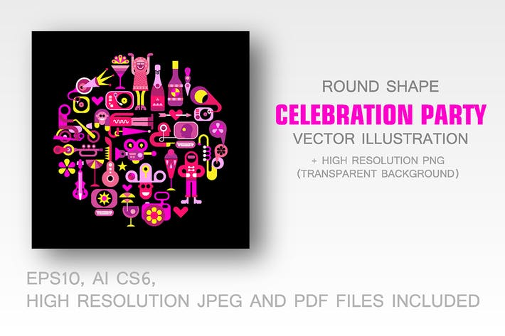 Thumbnail for Celebration Party round vector  illustration